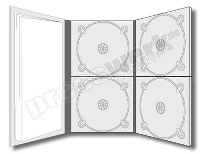 CD-KP-1003 | CD Digipack 6-seitig hochkant 4xCD rechts+mittig 1xBooklet links eingeklebt