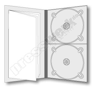 CD-KP-1007 | CD Digipack 4-seitig hochkant 2xCD rechts 1xBooklet links eingeklebt