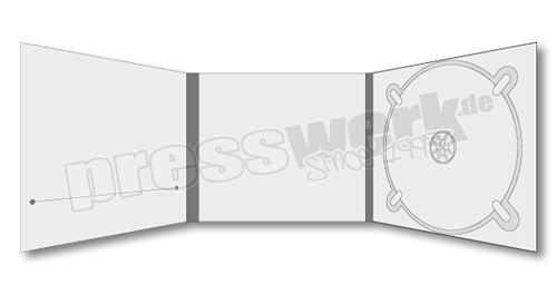 CD-KP-1045 | CD Digipack 6-seitig 1xTray rechts 1xBooklet-Slit links