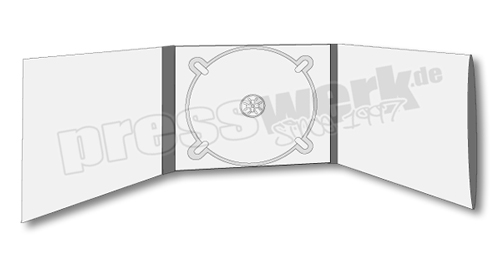 CD-KP-1051 | CD Digipack 6-seitig 1xTray mitte 1xBooklet-Sleeve rechts