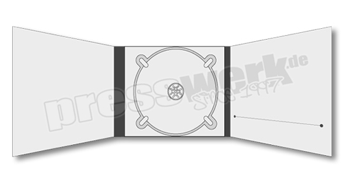 CD-KP-1057 | CD Digipack 6-seitig 1xTray mittig 1xBooklet-Schlitz rechts
