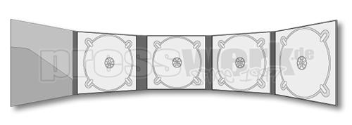 CD-KP-1063 | CD Digipack 10-seitig 4xTray Booklet Tasche links