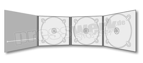 CD-KP-1065 | CD Digipack 8-seitig 3xTray 1xBooklet Schlitz links