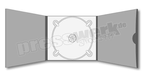 CD-KP-1089 | CD Digipack 6-seitig 1xCD mittig 1xBooklet-Pocket Eingriff rund