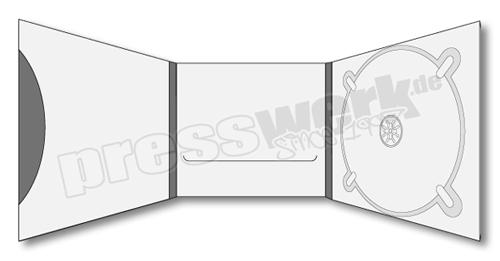 CD-KP-1099 | CD Digipack 6-seitig 1xCD rechts 1xBooklet Pocket links 1x Booklet Slit mittig