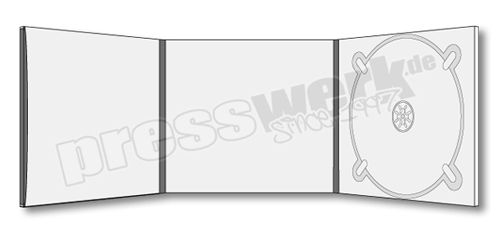 CD-KP-1101 | CD Digipack 6-seitig 1xCD rechts 1xBooklet Pocket links mit Rücken1x Booklet Slit mittig